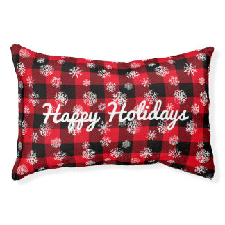 Snowflake Buffalo Plaid Red l Happy Holidays Pet Bed