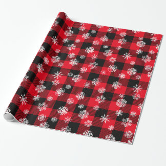 Snowflake Buffalo Plaid Red Wrapping Paper