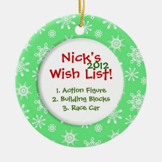 Snowflake Child's Wish List Round Ceramic Ornament