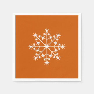Snowflake Christmas Burnt Orange Xmas Holiday Disposable Napkin