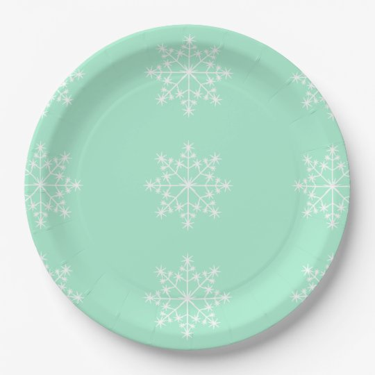 Snowflake Christmas Design Light Mint Xmas Holiday 9 Inch Paper Plate