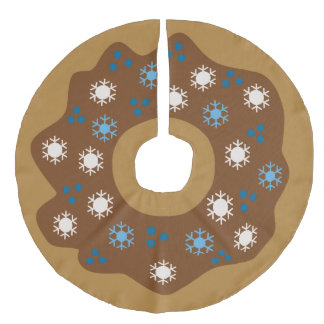 Snowflake Christmas Donut Blue Sprinkles Iced Faux Linen Tree Skirt