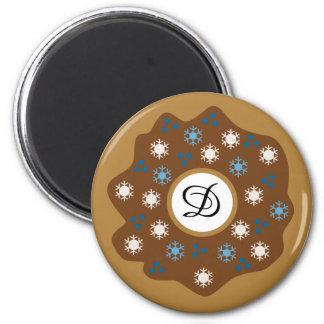 Snowflake Christmas Donut Blue Sprinkles Iced Magnet