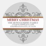 Snowflake Christmas Family Address Round Sticker