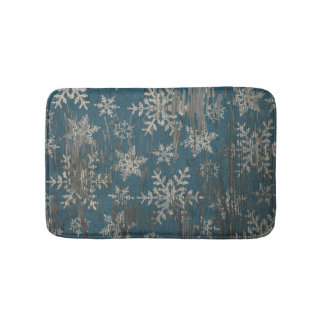 snowflake Christmas Holiday Rustic bath mat