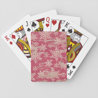 snowflake Christmas Holiday Rustic playing cards