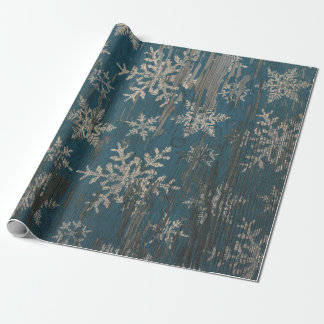 snowflake Christmas Holiday Rustic Wrapping Paper