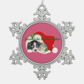 Snowflake Christmas Ornament Puppy and Kitten