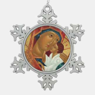 Snowflake Christmas Ornament with Orthodox Icon