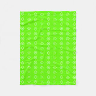 Snowflake Christmas Pattern Bright Green Holiday Fleece Blanket
