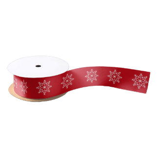Snowflake Christmas Pattern Venetian Red Holiday Satin Ribbon