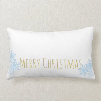 Snowflake Christmas Pillow in Blue and Gold