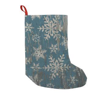 snowflake Christmas Rustic christmas stocking Small Christmas Stocking