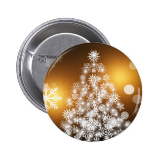 Snowflake Christmas Tree with Golden Background 2 Inch Round Button