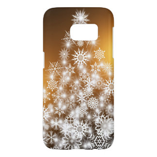 Snowflake Christmas Tree with Golden Background Samsung Galaxy S7 Case