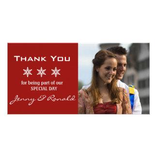Snowflake Christmas Wedding Thank You PhotoCard Card