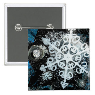 Snowflake, Christmas, white Winter, 2 Inch Square Button