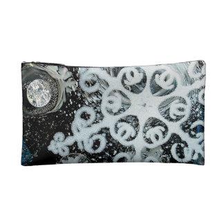 Snowflake, Christmas, white Winter, Makeup Bags