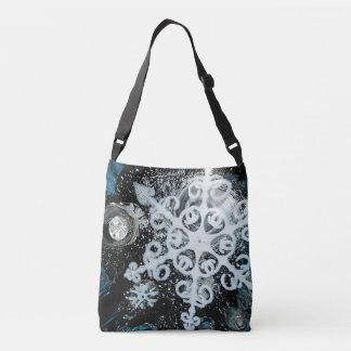 Snowflake, Christmas, white Winter, snow Crossbody Bag