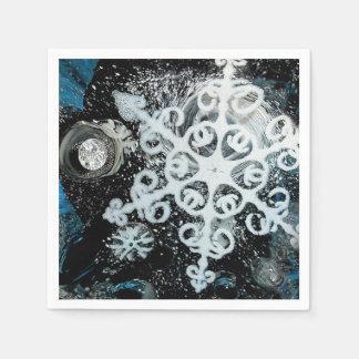 Snowflake, Christmas, white Winter, snow Disposable Napkins