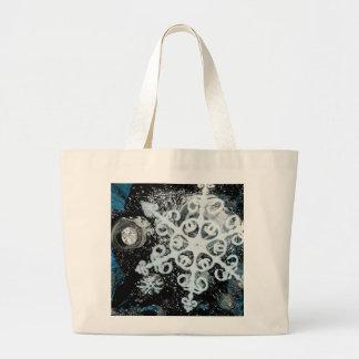 Snowflake, Christmas, white Winter, snow Large Tote Bag