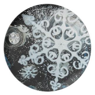 Snowflake, Christmas, white Winter, snow Party Plate
