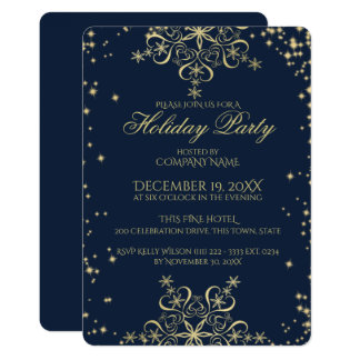 Snowflake Corporate Holiday Party Navy Blue Card