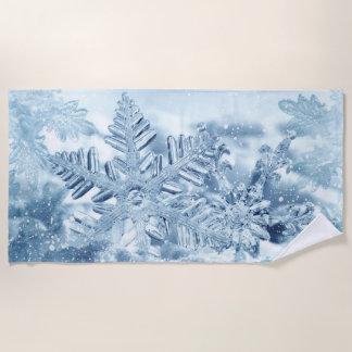 Snowflake Crystals Beach Towel