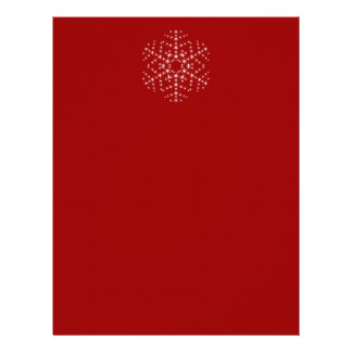 Snowflake Design in Dark Red and White. Personalized Letterhead