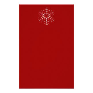 Snowflake Design in Dark Red and White. Personalized Stationery