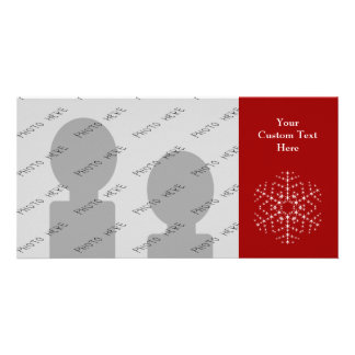 Snowflake Design in Dark Red and White. Picture Card
