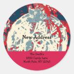 Snowflake Design New Address Round Stickers