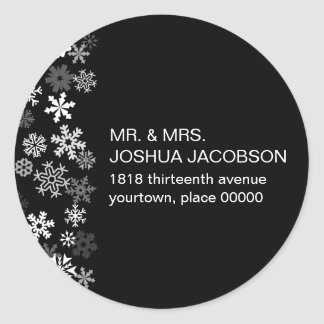 Snowflake Edge Bar Mitzvah Return Address Classic Round Sticker