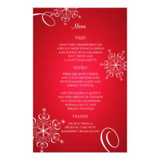 Snowflake Elegance Wedding Menu Red Stationery Paper