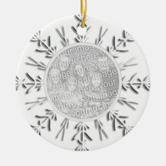 Snowflake Engagement Photo Ceramic Ornament