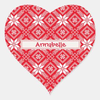 Snowflake Fair Isle (Jacquard) Holiday Sweater Heart Sticker