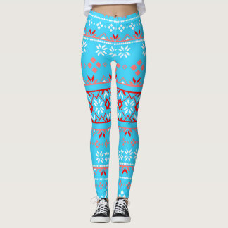 Snowflake Fair Isle Red and Light Blue Leggings