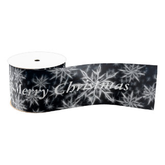 Snowflake feather look, Merry Christmas text white Grosgrain Ribbon