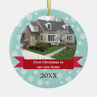 Snowflake flurry red banner teal custom photo round ceramic ornament