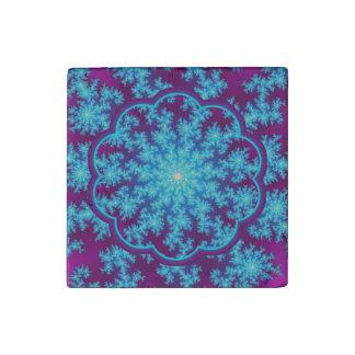 Snowflake Fractal Aqua Blue Stone Magnet