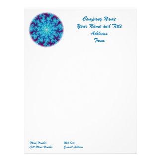 Snowflake Fractal: Aqua Blue Personalized Letterhead