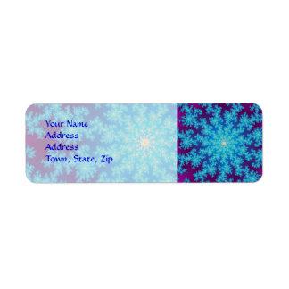 Snowflake Fractal: Aqua Blue Return Address Label