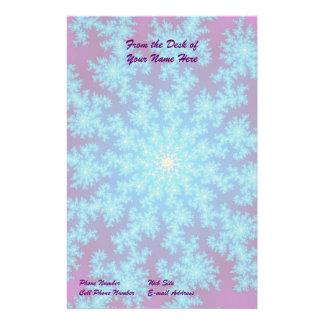 Snowflake Fractal: Aqua Blue Stationery Paper