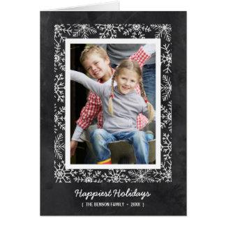 Snowflake Frame | Folded Chalkboard Holiday Photo Greeting Card