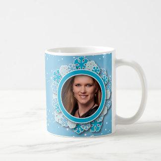 Snowflake frame classic white coffee mug