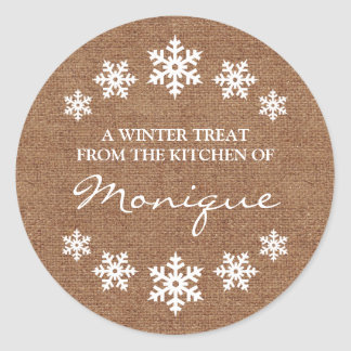 Snowflake Frame Winter Treat Label Faux Burlap