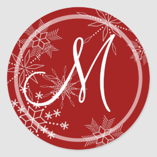 Snowflake Gems Nature/ Monogram Classic Round Sticker