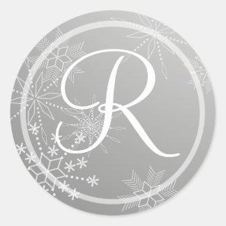 Snowflake Gems Silver/ Monogram Round Sticker