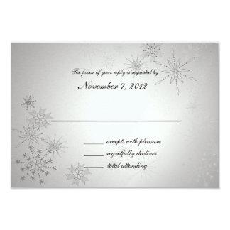 Snowflake Gems Silver Wedding Response Card