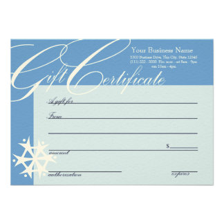 Snowflake Gift Certificate Personalized Invites